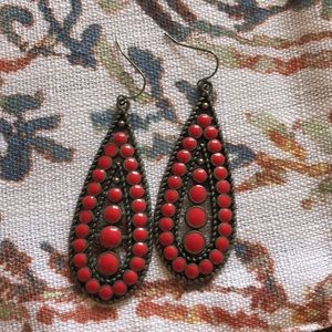 Red Decorative Metal Dangly Earrings